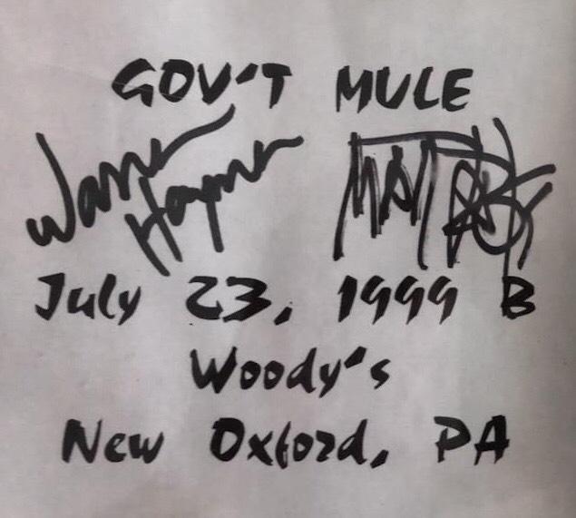 Gov't Mule Woody's Nightclub Autographs