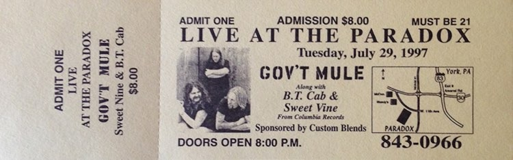 Gov't Mule Live At The Paradox Ticket Image